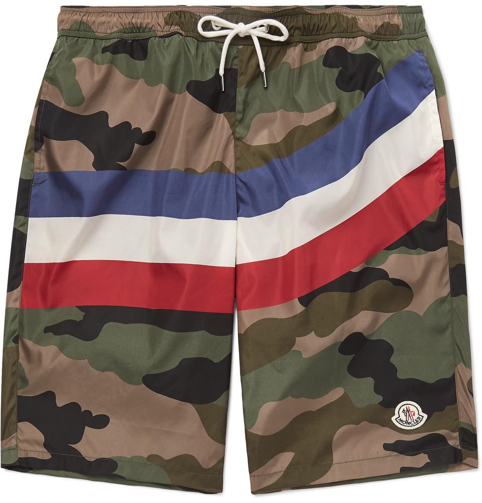 Long-length Printed Swim Shorts - Army green