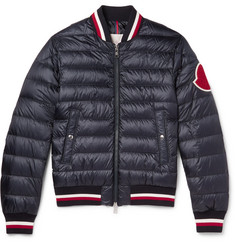 Moncler Deltour Stripe-Trimmed Quilted Shell Down Bomber Jacket