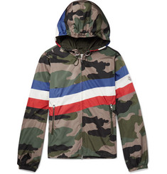 Moncler Striped Camouflage-Print Shell Hooded Jacket