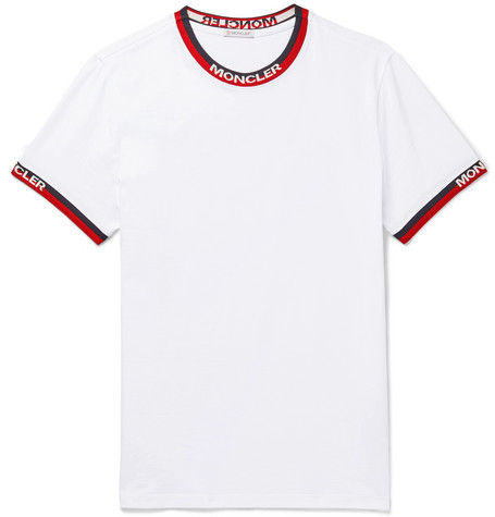 Moncler T-shirts Logo Webbing-Trimmed Stretch-Cotton Jersey T-Shirt