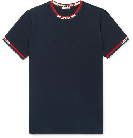 Moncler T-shirts Logo Webbing-Trimmed Cotton-Jersey T-Shirt