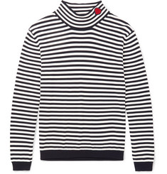Moncler Slim-Fit Appliquéd Striped Cotton Rollneck Sweater