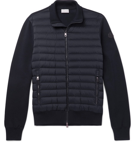 Slim Fit Panelled Cotton Blend Jersey And Quilted Shell Down Zip Up Sweater by Moncler