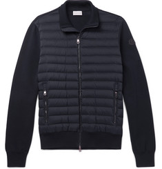 Moncler - Slim-Fit Panelled Cotton-Blend Jersey and Quilted Shell Down Zip-Up Sweater