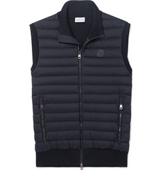 Moncler Panelled Cotton-Blend Jersey and Quilted Shell Down Gilet