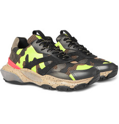 Valentino - Valentino Garavani Bounce Camouflage-Print Leather, Mesh and Suede Sneakers