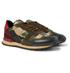 Valentino - Valentino Garavani Rockrunner Camouflage-Print Canvas, Leather and Suede Sneakers