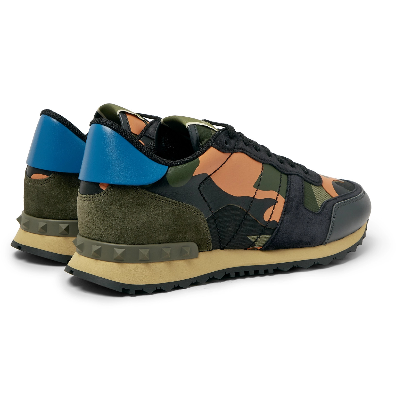 16933274740d8 ValentinoValentino Garavani Rockrunner Camouflage-Print Canvas, Leather and  Suede Sneakers