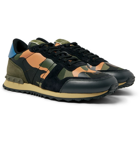 771bf8b387125 ValentinoValentino Garavani Rockrunner Camouflage-Print Canvas, Leather and  Suede Sneakers