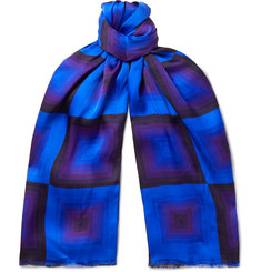 Dries Van Noten - Fringed Printed Matte-Satin Scarf