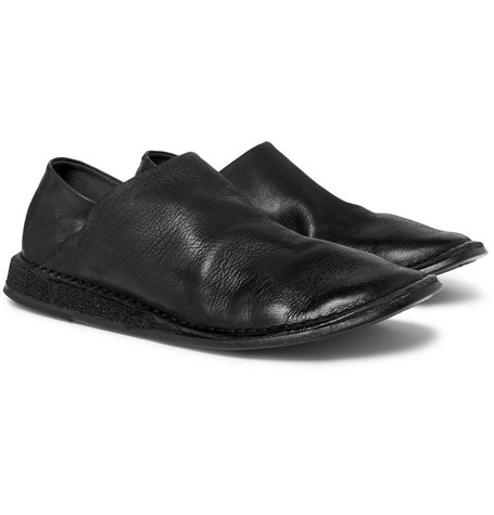 Stag Collapsible-heel Leather Loafers - Black