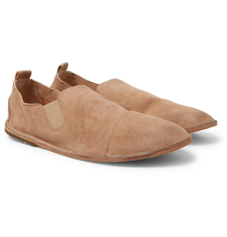 Cap-toe Washed-suede Loafers - Tan