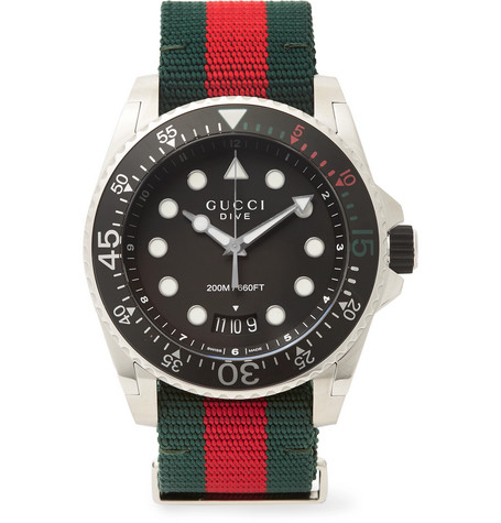 eef477b74a7 Gucci - Gucci Dive 45mm Stainless Steel and Webbing Watch