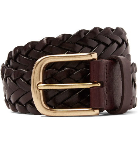 JAMES PURDEY & SONS 3.5Cm Dark-Brown Woven Leather Belt - Dark Brown