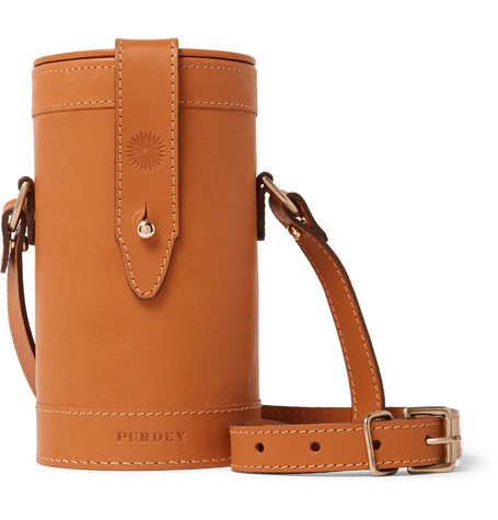 JAMES PURDEY & SONS Leather And Glass Flask Set in Tan