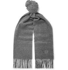 Kingsman Fringed Prince of Wales Checked Cashmere Scarf