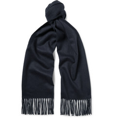 Johnstons of Elgin Fringed Checked Cashmere Scarf