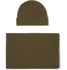 Johnstons of Elgin - Ribbed Cashmere Scarf and Beanie Set