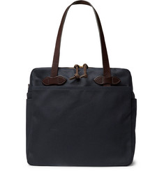 Filson Leather-Trimmed Cotton-Twill Tote Bag