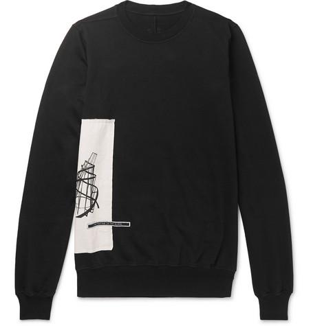 Appliquéd Fleece Back Cotton Jersey Sweatshirt by Rick Owens