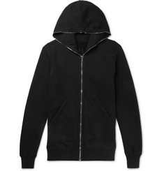 Rick Owens Felpa Slim-Fit Fleece-Back Cotton-Jersey Zip-Up Hoodie