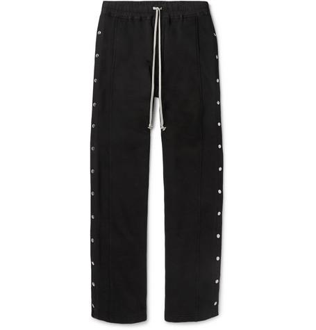 Felpa Wide Leg Snap Detailed Cotton Jersey Drawstring Trousers by Rick Owens