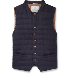 Brunello Cucinelli - Slim-Fit Quilted Linen Down Gilet