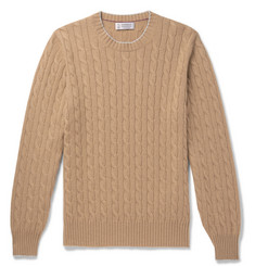 Brunello Cucinelli - Contrast-Tipped Cable-Knit Cashmere Sweater