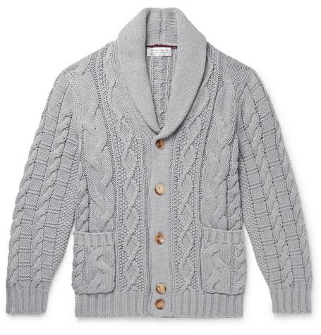 BRUNELLO CUCINELLI | Brunello Cucinelli - Shawl-collar Cable-knit Cotton Cardigan - Gray | Goxip
