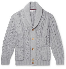Brunello Cucinelli Shawl-Collar Cable-Knit Cotton Cardigan