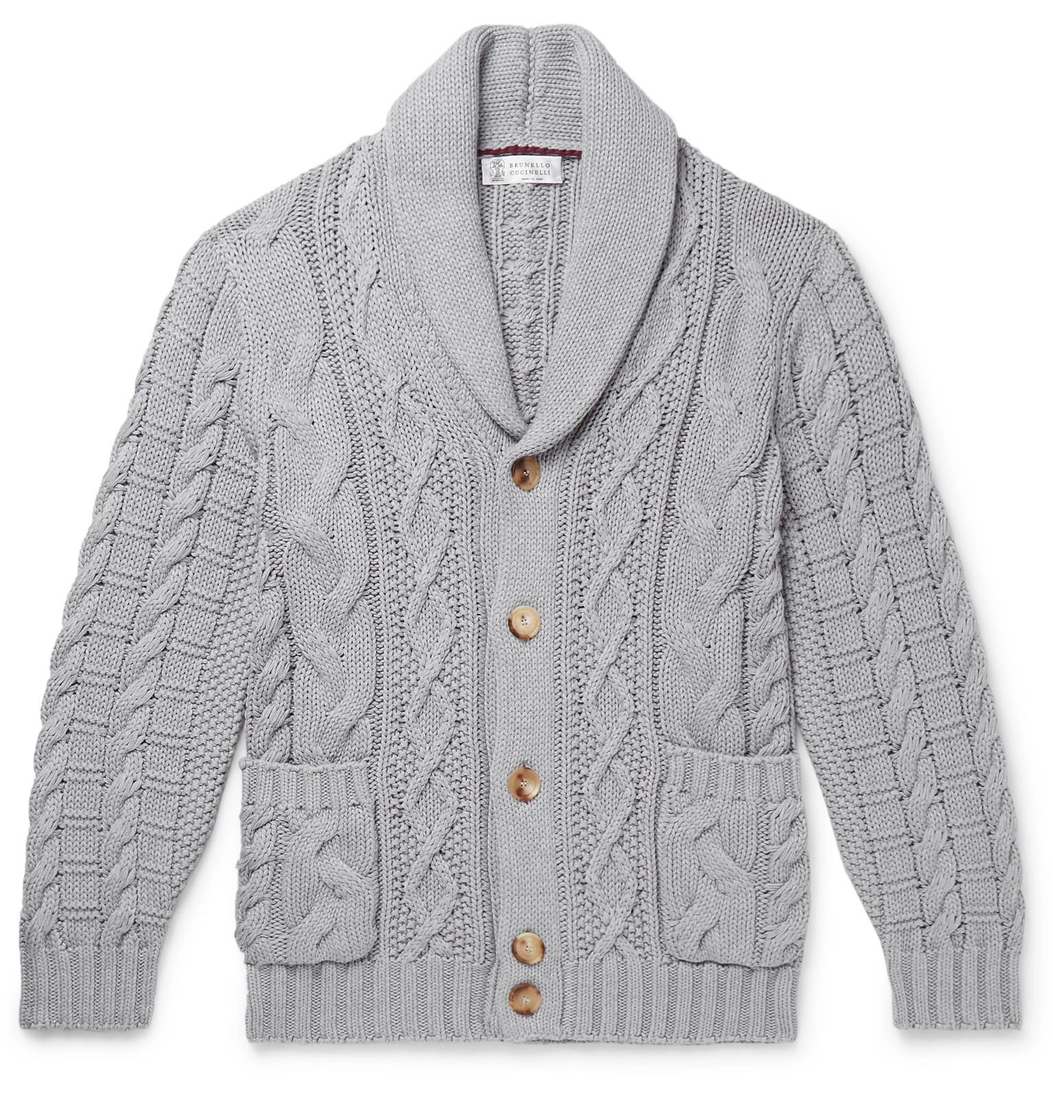 1013dee735 Brunello Cucinelli - Shawl-Collar Cable-Knit Cotton Cardigan