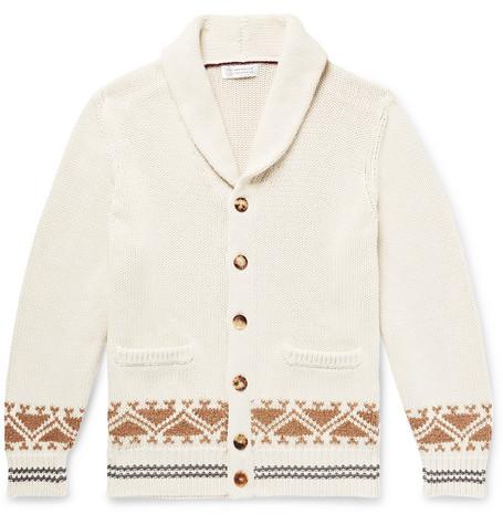 BRUNELLO CUCINELLI | Brunello Cucinelli - Shawl-collar Cotton-jacquard Cardigan - Off-white | Goxip