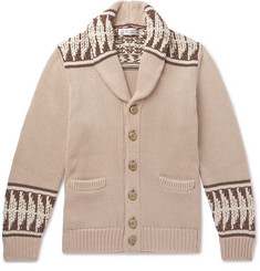 Brunello Cucinelli Shawl-Collar Intarsia Cotton Cardigan