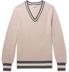 Brunello Cucinelli - Contrast-Trimmed Slub Cotton-Blend Sweater