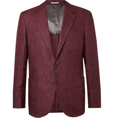 Brunello Cucinelli Burgundy Slim-Fit Linen Blazer