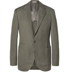 Brunello Cucinelli Grey-Green Solaro Herringbone Wool and Linen-Blend Blazer