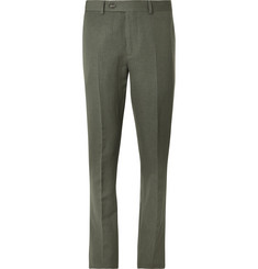 Brunello Cucinelli Grey-Green Herringbone Wool and Linen-Blend Suit Trousers