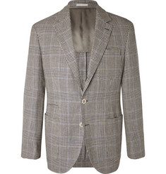 Brunello Cucinelli Ecru Prince of Wales Checked Linen, Wool and Silk-Blend Suit Jacket