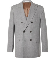 Brunello Cucinelli Grey Puppytooth Double-Breasted Linen, Wool and Silk-Blend Suit Jacket