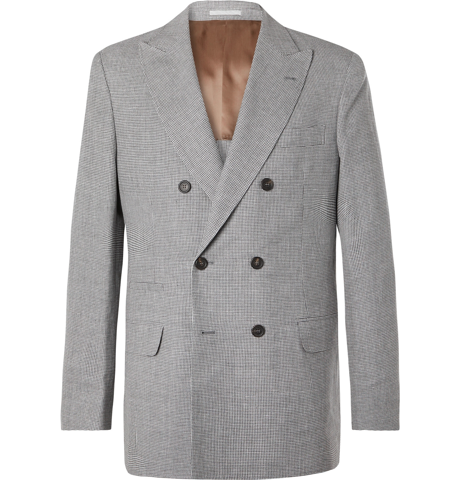 752f46f8794 Brunello Cucinelli - Grey Puppytooth Double-Breasted Linen