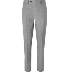 Brunello Cucinelli Grey Puppytooth Linen, Virgin Wool and Silk-Blend Suit Trousers