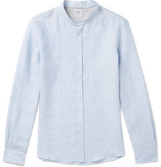 Brunello Cucinelli Slim-Fit Grandad-Collar Pinstriped Linen Shirt