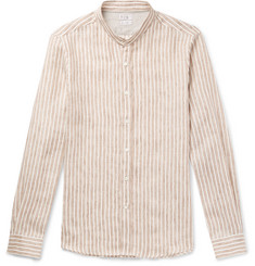 Brunello Cucinelli - Grandad-Collar Pinstriped Linen-Blend Shirt
