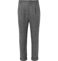 Brunello Cucinelli Tapered Prince of Wales Checked Pleated Linen Trousers