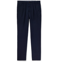 Brunello Cucinelli - Navy Slim-Fit Pleated Linen and Cotton-Blend Chinos