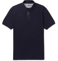 Brunello Cucinelli - Slim-Fit Grosgrain-Trimmed Cotton-Piqué Polo Shirt