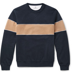 Brunello Cucinelli Striped Cotton-Blend Jersey Sweatshirt