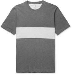 Brunello Cucinelli Panelled Mélange Cotton-Jersey T-Shirt