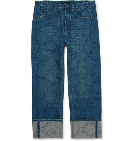 Logo Print Denim Jeans by Valentino