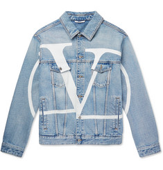 Valentino Distressed Logo-Print Denim Jacket